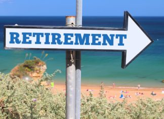 Retirement Plan Arrow Sign Beach