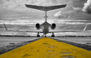 Private Jet Luxury Yellow Runway Horizon