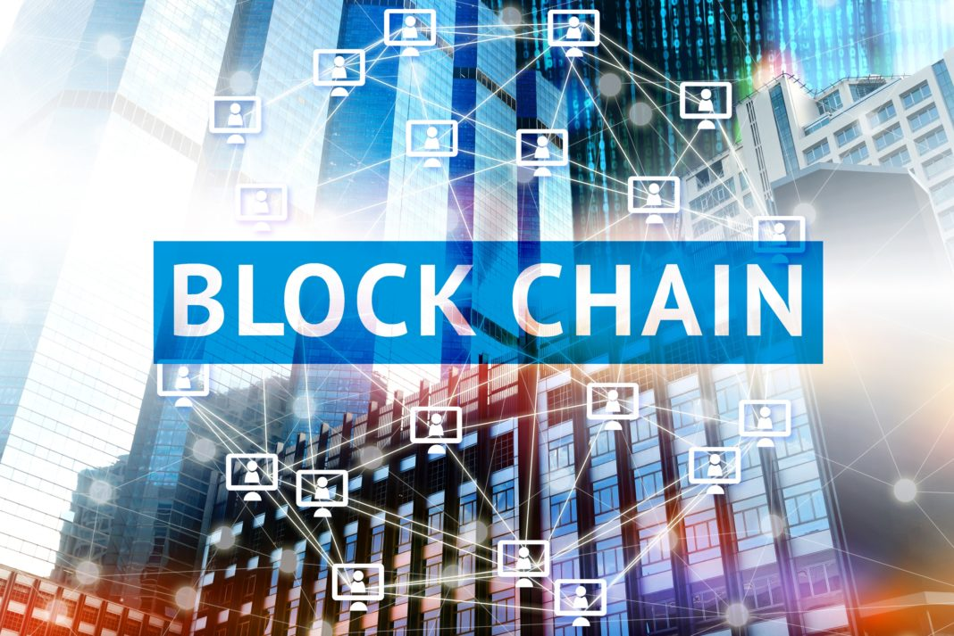 Block Chain Technolog City Blue Buildings Network Connection