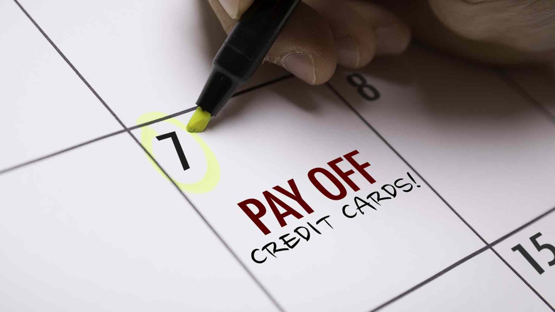 credit card payment set on calendar