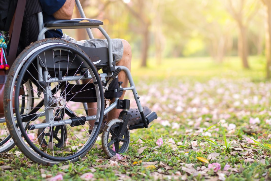 Caring For Elderly Wheel Chair Outdoors Grass