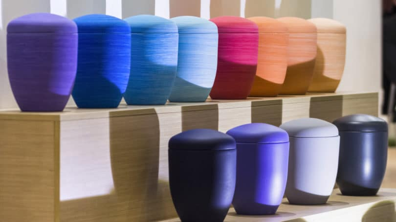 Funeral Urns Colorful Shades Lined Up Shelves Burial