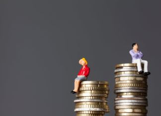 Man Woman Pile Of Coins Gender Wage Gap