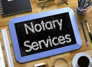 Notary Services Desk Pen Book Ruler Glasses