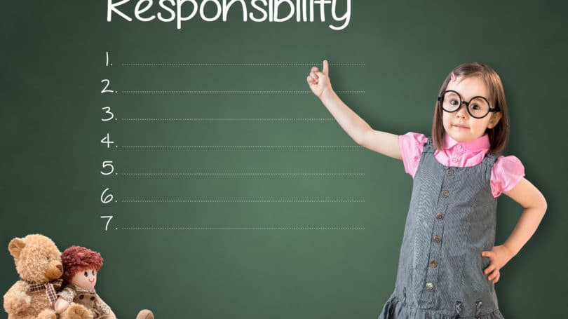 Girl Responsibility List Chart Teddy Chalk Board