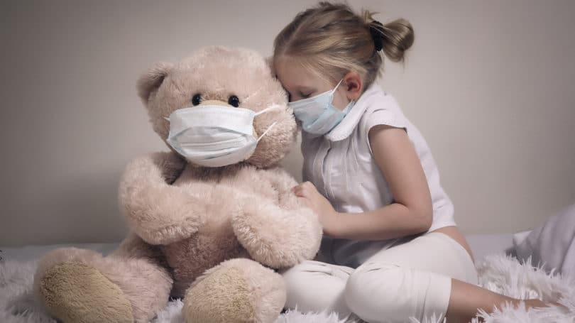 Little Girl Teddy Bear Mask Empathy