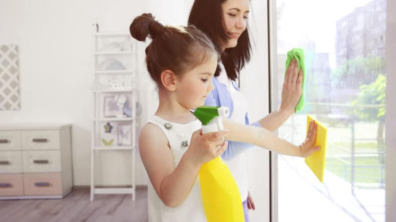 Mother Daughter Chores Cleaning Window