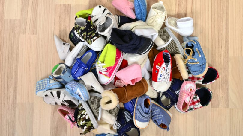 Big Pile Of Children Shoes