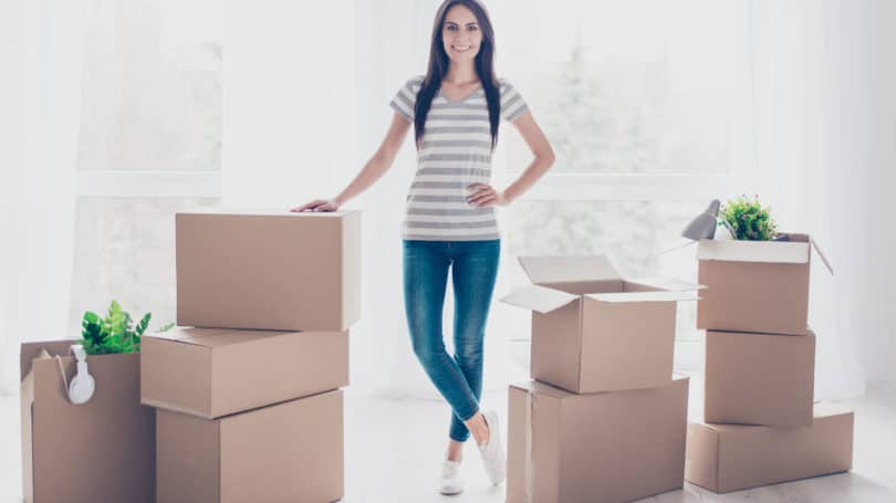 Happy Woman With Organized Boxes