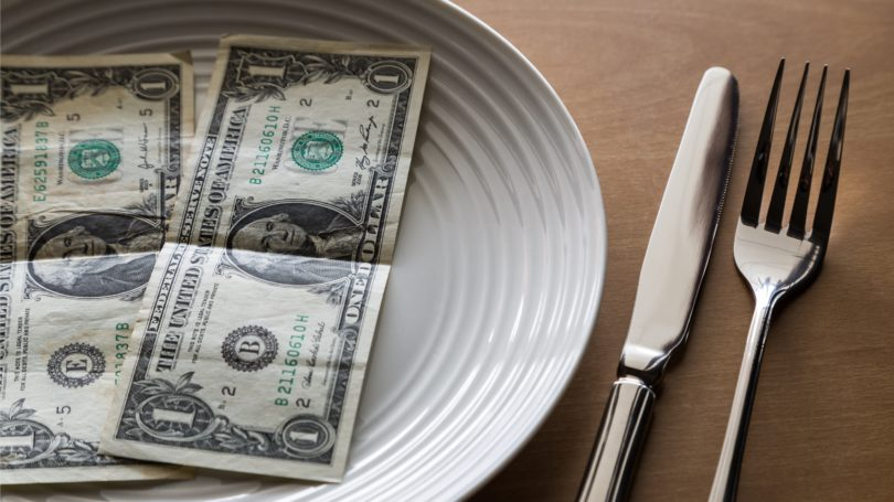 Money On Plate Dollar Bills Fork Knife