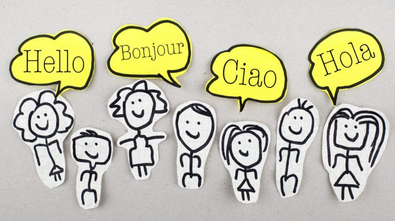 Greetings In Multiple Languages Stick Figures Cartoon