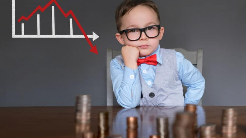 Stock Market Young Boy Watching Investments