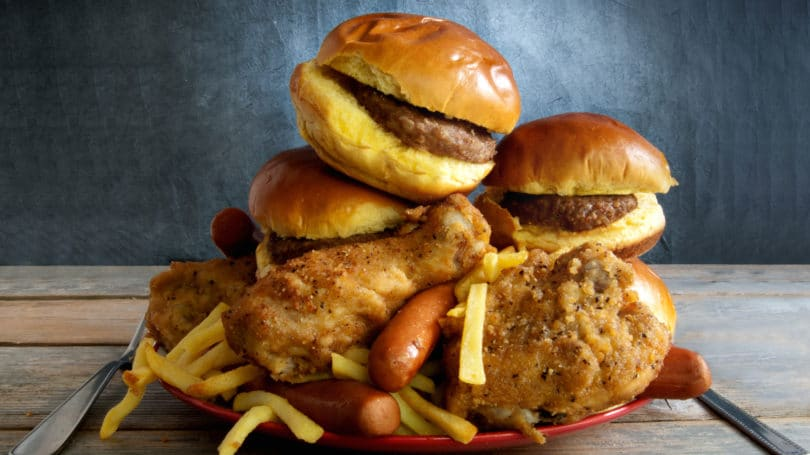 Plate Of Junk Food Burgers Fried Chicken Fries