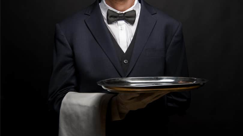 Butler Tray Bowtie Suit Worker