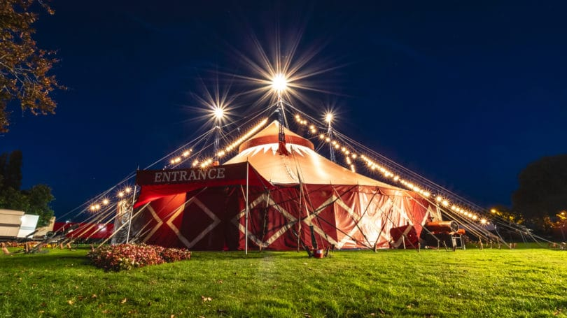 Circus Worker Tent Red Outdoors Night