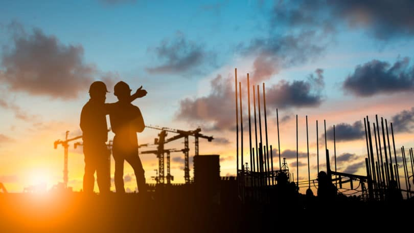 Civil Engineer Sunset Lanscape Building Discussion Workers