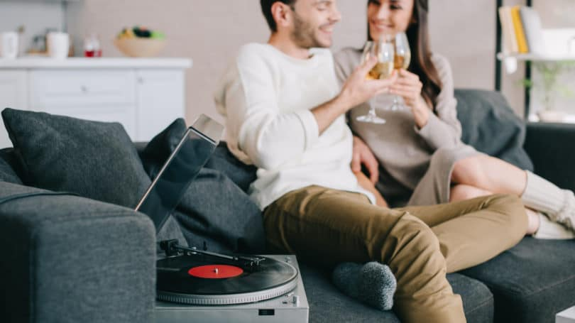 Couple Date Night Home Music Vinyl Record Player