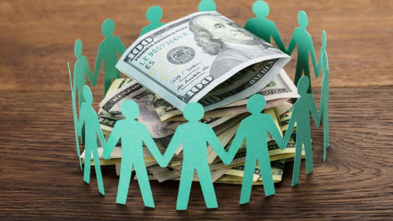 Crowdfunding Concept Group Of People Cash
