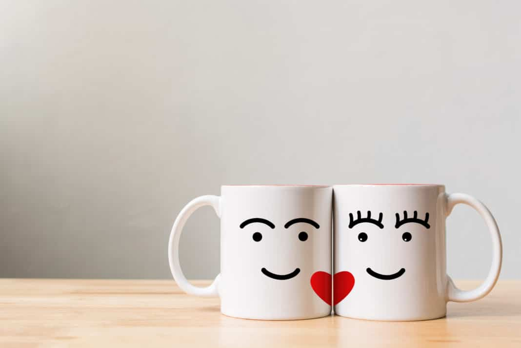 Date Night Couples Mug Connecting Hearts His And Hers