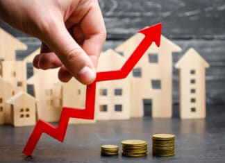 Real Estate Coins Stacked Arrow Up Great Investment