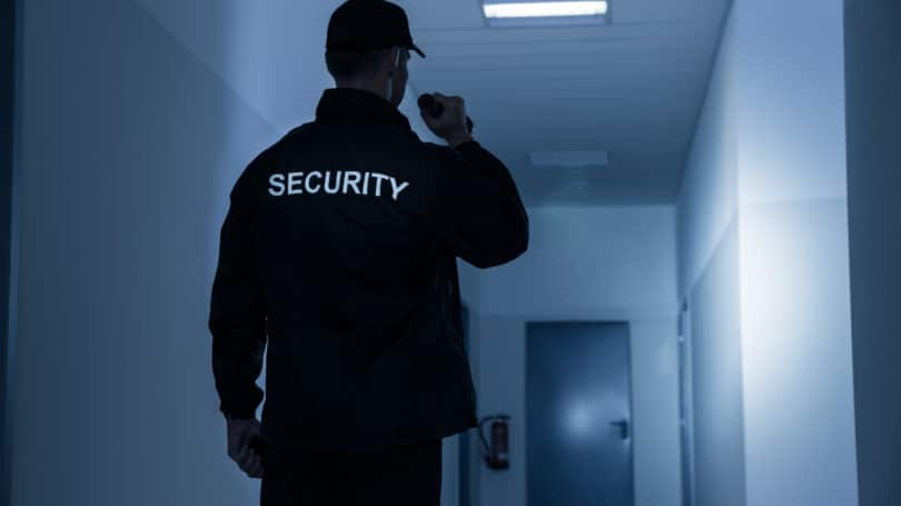 Security Guard At Night Flashlight Office Night Shift