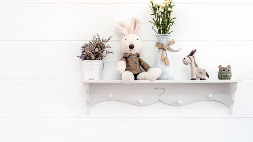 Plants Shelves Stuffed Animals Accessorizing Wall