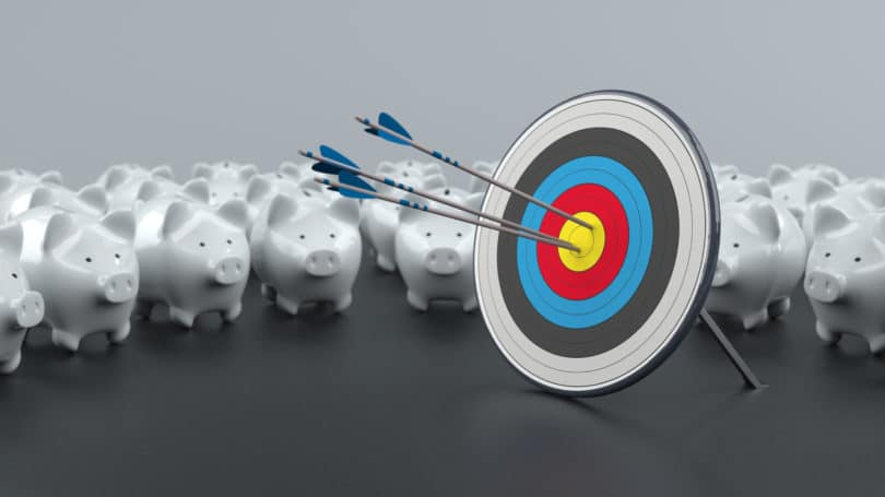Target Savings Rate Piggy Banks Arrow