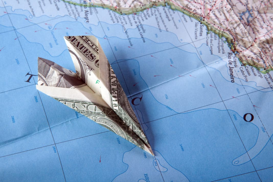 Paper Airplane Map Cash Bill Travel Vacation