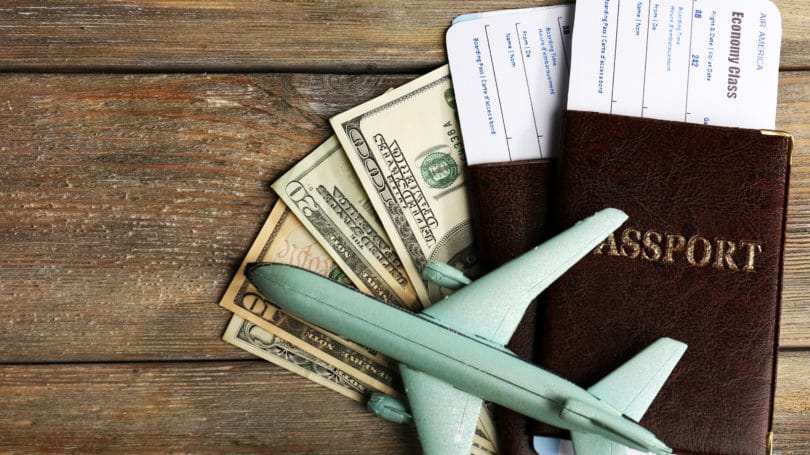 Airplane Airline Ticketse Passport Cash