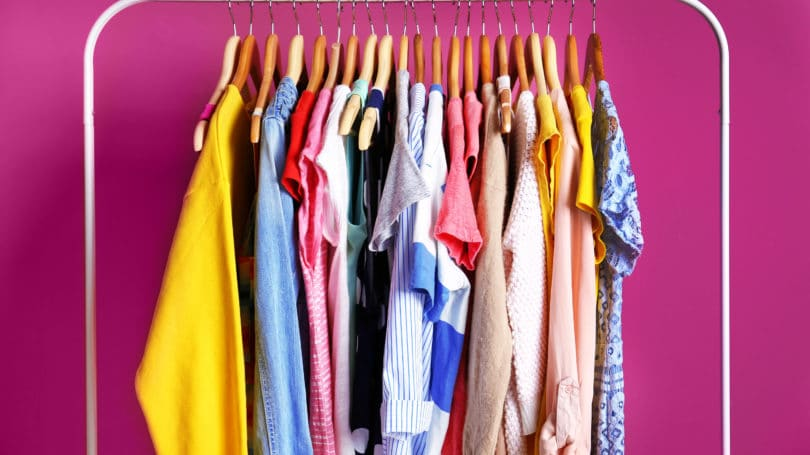 Clothing Hanging On Rack Colorful Trendy