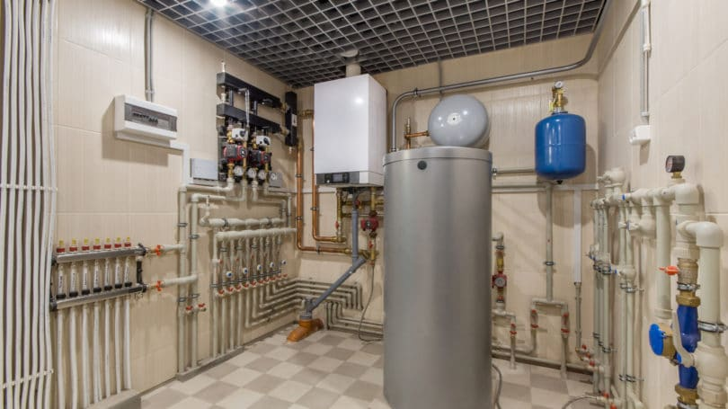 Hot Water Boiler Room Gas Pipes Valves