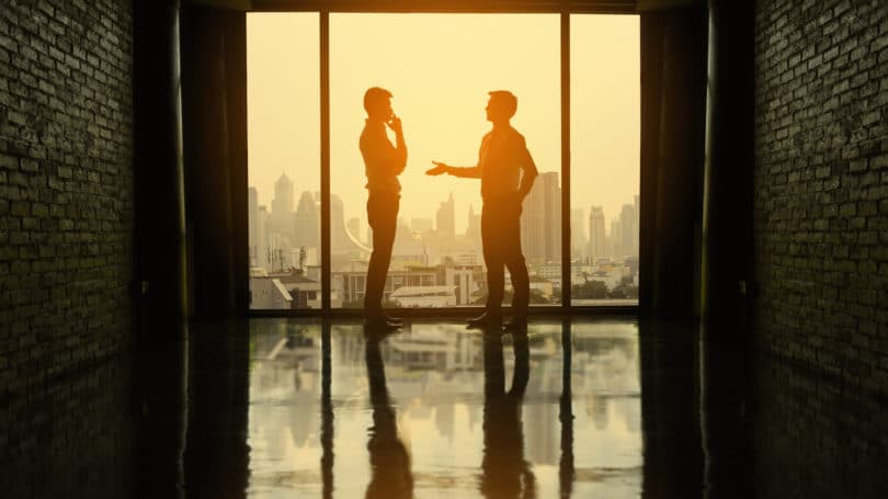 Business Meeting Partners Negotiation Office Window Thinking