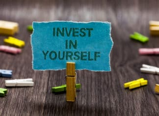 Invest In Yourself Board Clips Sign