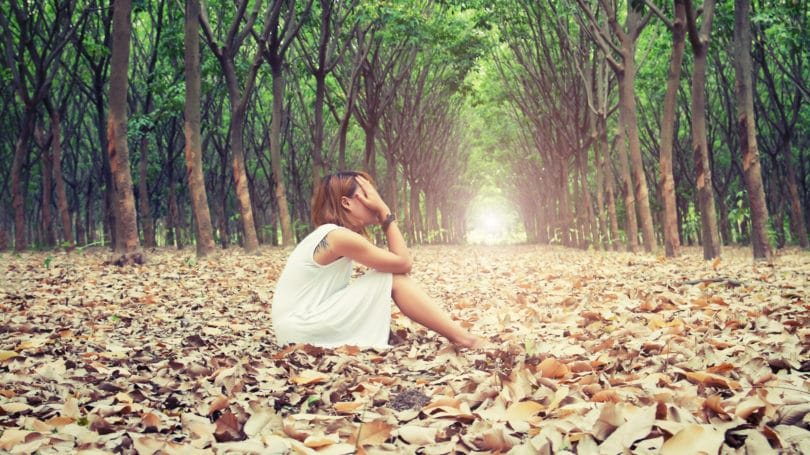 Sad Woman Crying Outside Alone Self Worth Forest