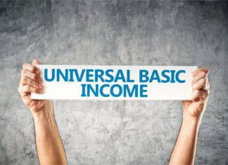 Universal Basic Income Banner Sign Hands