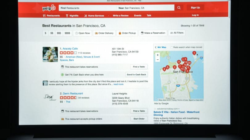 Yelp Reviews Response Lists Ratings Map