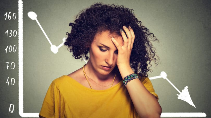 Frustrated Sad Woman Downward Spiral Graph Income Finances
